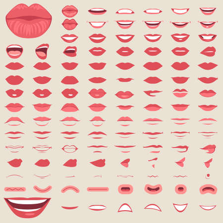 Different vector illustration of lips