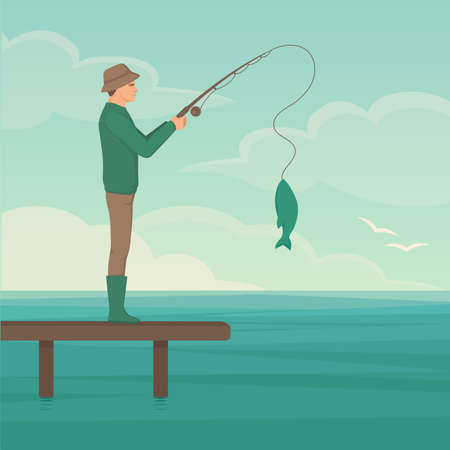 Vector illustration of a cartoon fisherman, man cath fish on fishing rod Vectores
