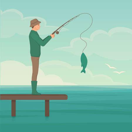 Vector illustration of a cartoon fisherman, man cath fish on fishing rod Vettoriali