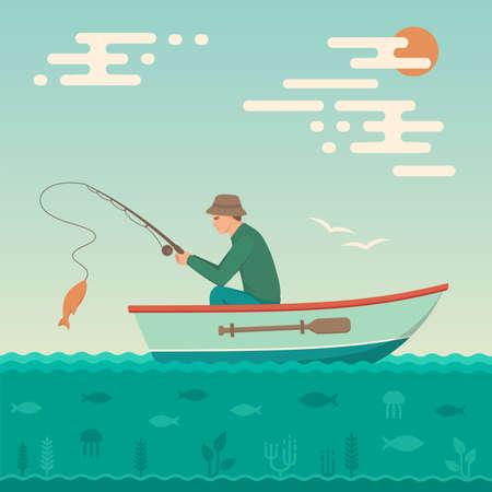 Vector illustration of a cartoon fisherman, man cath fish on fishing rod Çizim