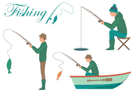 Illustration vectorielle d'un pêcheur de dessin animé, homme cath poisson sur la canne à pêche Banque d'images - 90819826