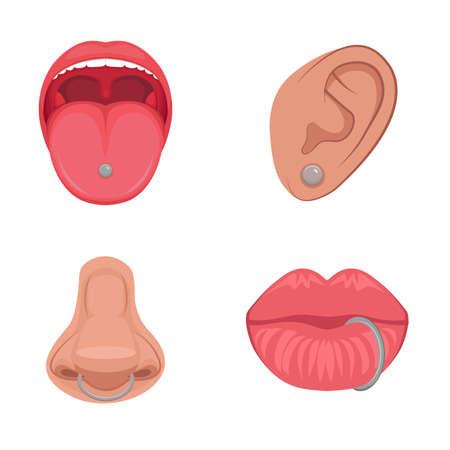 ピアス スタジオ アイコン、耳、鼻、唇、舌のベクトル イラスト  イラスト・ベクター素材