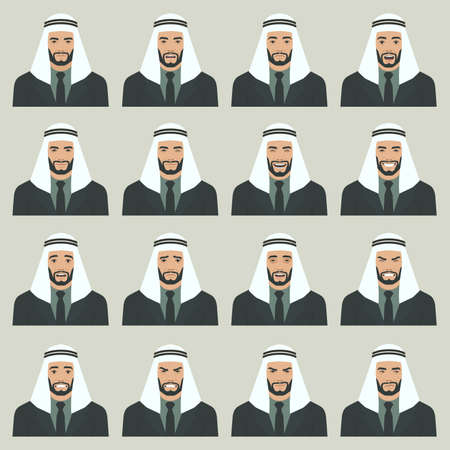 Vector illustration of a Arabic face expressions, set of different Muslim face expression, cartoon character Arab, Saudi avatar. Çizim