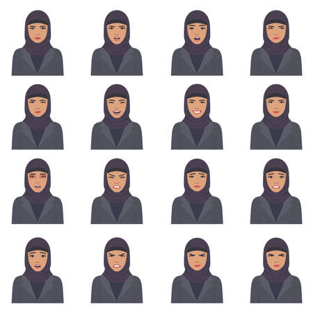 Vector illustration of a Arabic face expressions, set of different Muslim face expression, cartoon character Arab, Saudi avatar