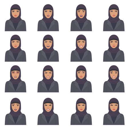 Illustration vectorielle d'une expression de visage arabe, ensemble de différentes expressions de visage musulman, personnage de dessin animé arabe, avatar saoudien Banque d'images - 92500929