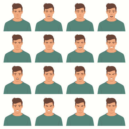 Illustration vectorielle d'une expressions de visage, ensemble de différentes expressions faciales, avatar de personnage de dessin animé. Banque d'images - 92500933