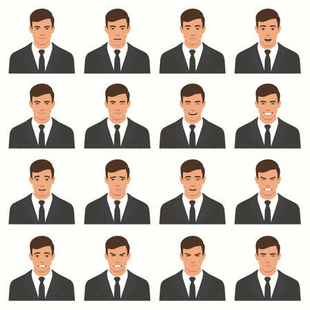 Vector illustration of a face expressions, set of different facial expression, cartoon character avatar.