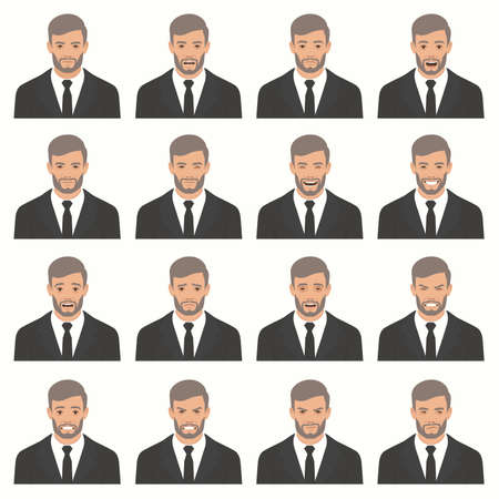 Vector illustration of a face expressions, set of different facial expression, cartoon character avatar. Stock Vector - 92500936