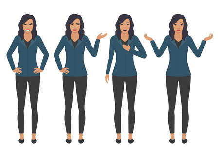 Vector illustration of woman expressions with hands gesture, cartoon businesswoman wit different emotion. Illustration