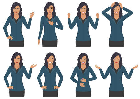 Vector illustration of woman expressions with hands gesture, cartoon businesswoman wit different emotion. Çizim