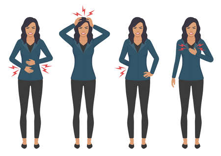 Vector illustration of a sick woman with ache problems, head chest and stomach pain.