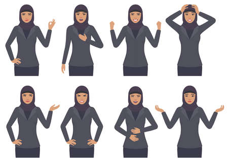 vector illustration of a Arab woman character expressions with hands gesture, cartoon Muslim businesswoman with different emotion. Stock Vector - 92875463