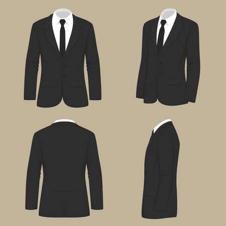 Vector illustration of a fashion men, suit uniform, back side view of jacket. 일러스트