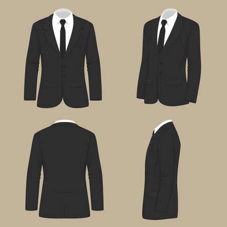 Vector illustration of a fashion men, suit uniform, back side view of jacket. Çizim
