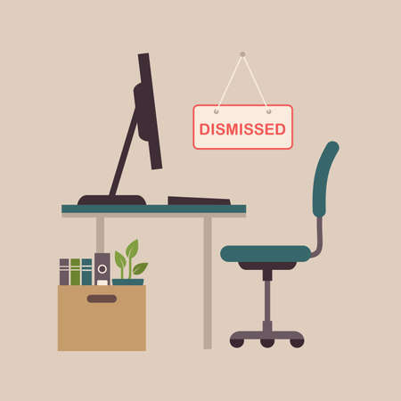 Illustration  of a fired job concept, office chair, business work dismissal.