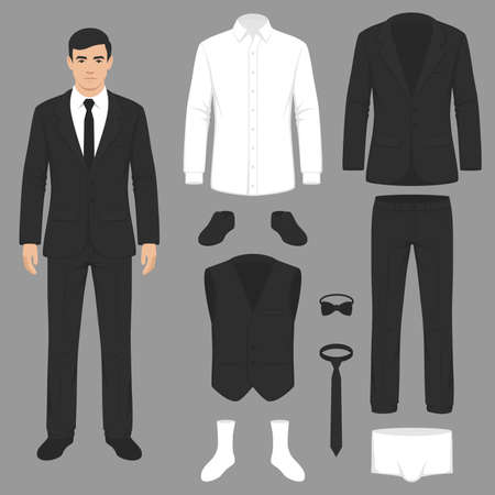Illustration  of men's fashion, suit uniform, jacket, pants, shirt and shoes isolated.