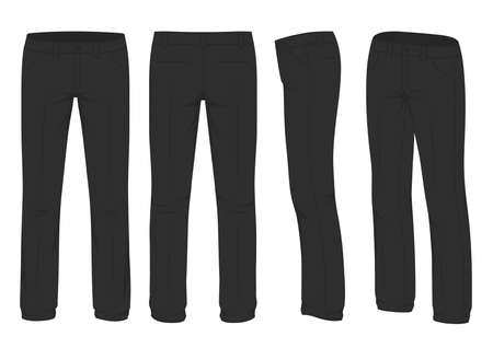 Illustration  of mens fashion, suit uniform, back side view of pants. Illustration