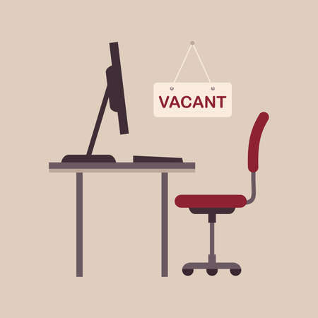 Illustration  of a vacant concept, office chair, business job vacancy, hiring recruitment. Çizim