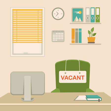 Illustration  of a vacant concept, office chair, business job vacancy, hiring recruitment. Stock Vector - 93081256