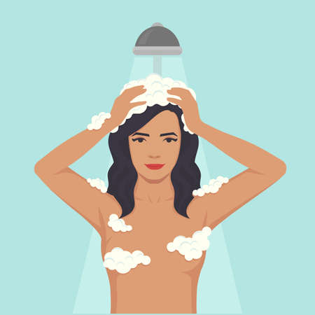vector illustration of a woman washing head, hair hygiene, shower in bathroom Illustration
