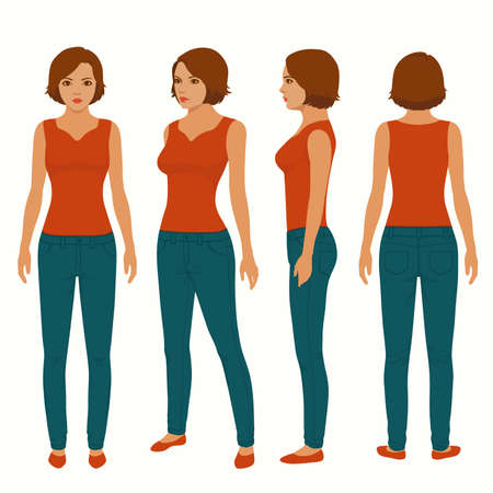 Fashion woman isolated, front, back view, vector illustration