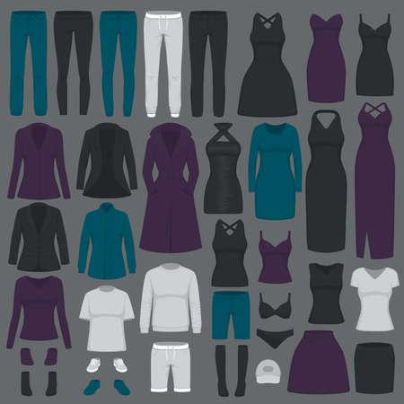 Vector illustration of fashion women clothes, dress, shirt, shoes, jeans, jacket collection Çizim