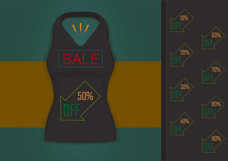 vector sale t-shirt template, clothes store design illustration