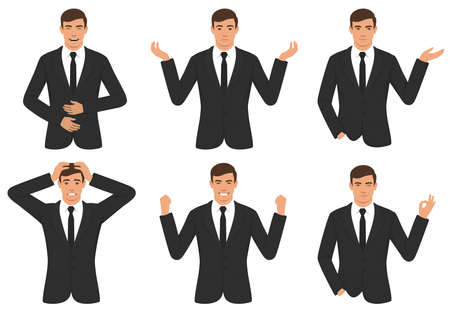 A vector illustration of man character expressions with hands gesture, cartoon businessman wit different emotion