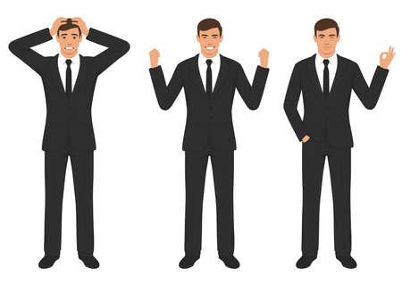Une illustration vectorielle des expressions de caractère de l'homme avec le geste des mains, émotion différente de dessin animé homme d'affaires wit Banque d'images - 94104886