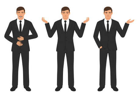 vector illustration of man character expressions with hands gesture, cartoon businessman wit different emotion