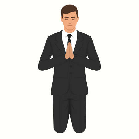 vector illustration of a isolated christian prayer, kneeling and praying person. Illustration