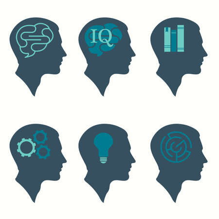 vector illustration of human profile head concept, with brain, bulb, book, labyrinth and gear icon