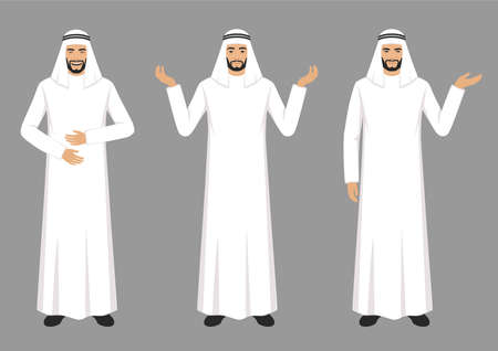 Vector illustration of an arab man character expressions with hands gesture, cartoon muslim businessman wit different emotion Çizim