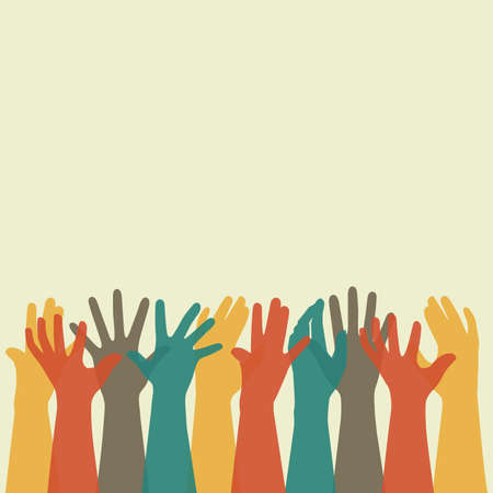 Vector illustration of a group of people hands up, volunteer or voting concept background, human hand