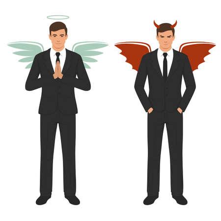 Illustration vectorielle d'un diable de la bande dessinée et ange, bon et mauvais choix, ailes, cornes et halo Banque d'images - 94493459