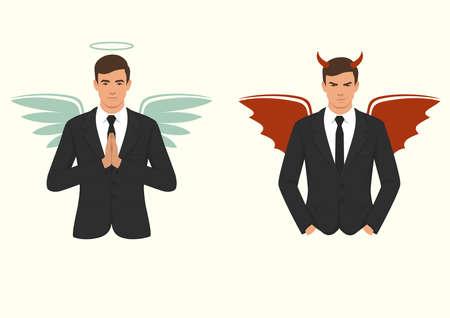 Illustration vectorielle d'un diable de la bande dessinée et ange, bon et mauvais choix, ailes, cornes et halo Banque d'images - 94493465