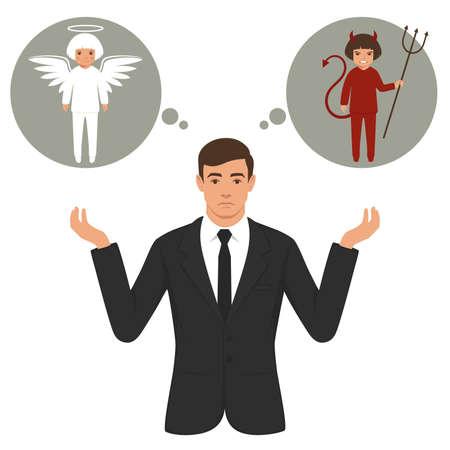 Illustration vectorielle d'un diable de la bande dessinée et ange, bon et mauvais choix, ailes, cornes et halo Banque d'images - 94493466