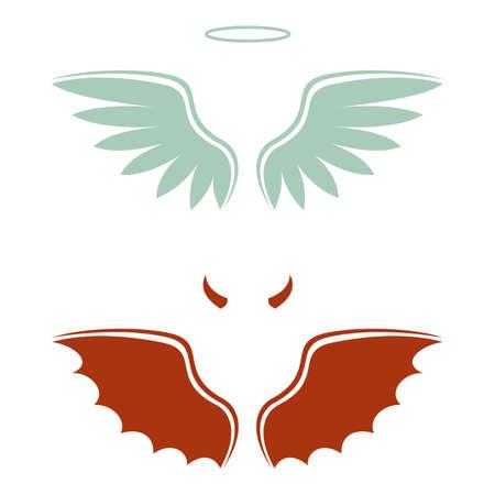 illustration vectorielle d'un diable de la bande dessinée et ange, bon et mauvais choix, ailes, cornes et halo