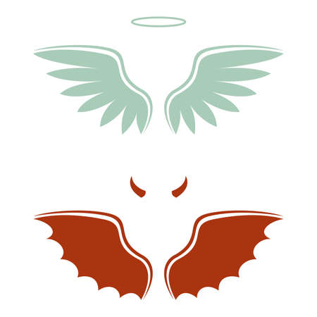 vector illustration of a cartoon devil and angel, good and bad choice, wings, horns and halo