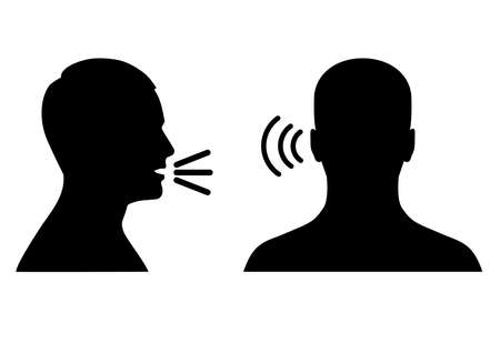 vector illustration of listen and speak icon, voice or sound symbol, man head profile and back Ilustração