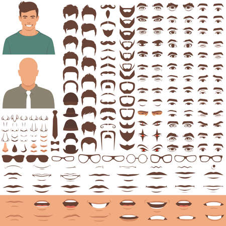 Vector illustration of man face elements, head and eyes, mouth, lips, hair and eyebrow icon set Çizim
