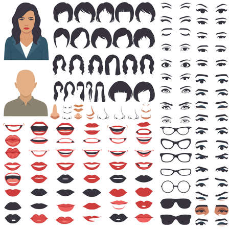 vector illustration of woman face, head, eyes, lips, hair and eyebrow icon set Illustration