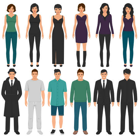 Cartoon people group, man, woman flat characters, business office team.