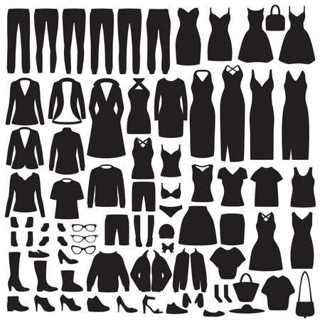 Illustration vectorielle de la silhouette de vêtements pour femmes de mode, robe, chemise, chaussures, jeans, collection de veste