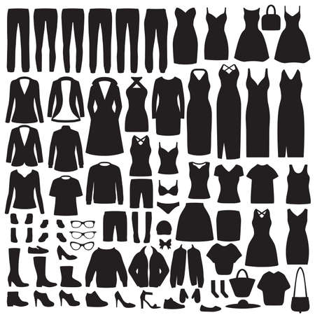 Vector illustration of fashion women's clothes silhouette, dress, shirt, shoes, jeans, jacket collection