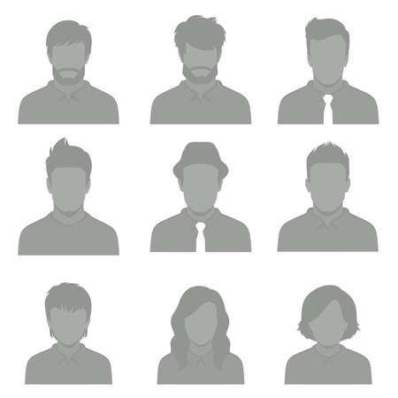 Set of flat avatar users icon.