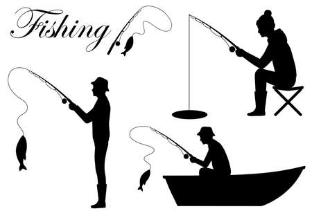 Fisherman silhouette icon vector illustration. Man catch a fish on fishing rod.
