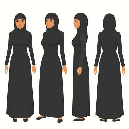 muslim woman illustration, vector girl character, saudi cartoon female, front, side and back view Vectores