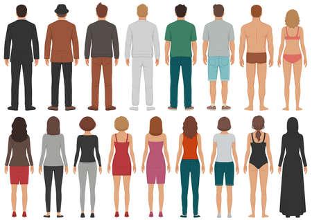 vector illustratie van groep mensen, man, vrouw, staand, zakelijke geïsoleerde persoon Vector Illustratie