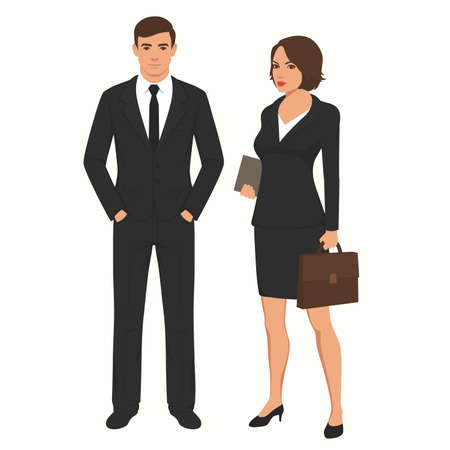 vector illustration of business people businessman and businesswoman. man, woman standing characters, office team
